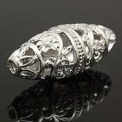 Материалы для творчества handmade. Livemaster - original item Bead openwork 11х26.5 mm matte rhodium South Korea (art. 2821). Handmade.
