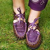 """Обувь ручной работы. Ярмарка Мастеров - ручная работа Кожаные сандалии """"Brown & Purple"""". Handmade."""