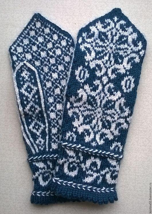 Варежки, митенки, перчатки ручной работы. Ярмарка Мастеров - ручная работа. Купить женские варежки Снежинки. Handmade. Морская волна