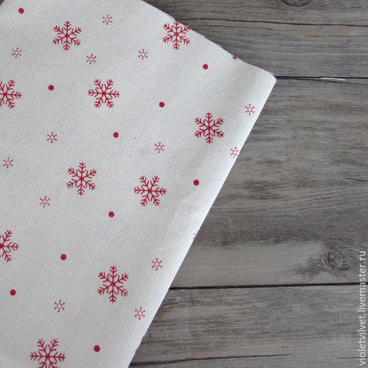 Ткань лен натуральный 50х50  см,  Снежинки красные 1019