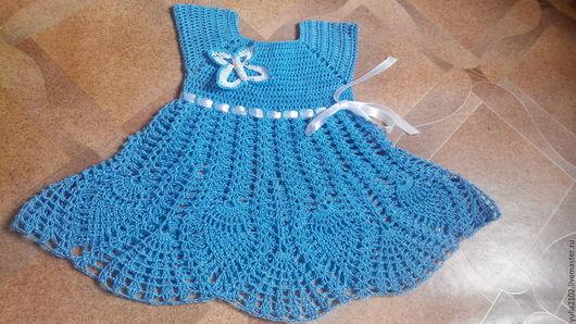 Одежда для девочек, ручной работы. Ярмарка Мастеров - ручная работа. Купить сарафан летний  ажурный для девочки крючком Бабочка. Handmade.