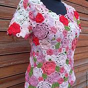 Одежда ручной работы. Ярмарка Мастеров - ручная работа блуза вязаная крючком Райский сад. Handmade.