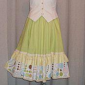Одежда ручной работы. Ярмарка Мастеров - ручная работа №156.1 Льняная летняя юбка бохо. Handmade.