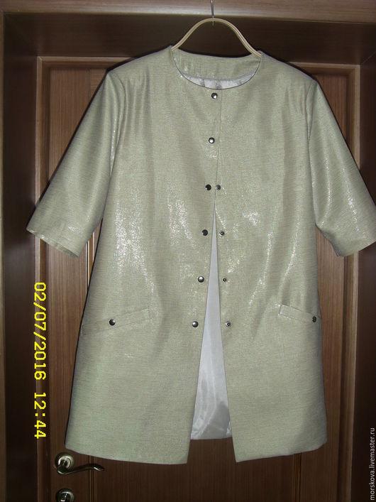 Пиджаки, жакеты ручной работы. Ярмарка Мастеров - ручная работа. Купить Летнее пальто Лен. Handmade. Лимонный, лен