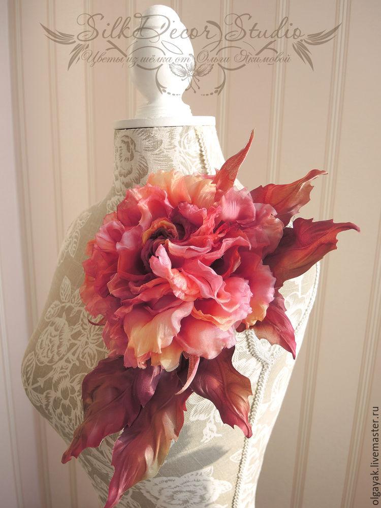 Цветы из ткани Брошь цветок Осенняя роза, Броши, Обнинск, Фото №1
