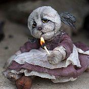 Куклы и игрушки ручной работы. Ярмарка Мастеров - ручная работа Кошка тедди Девочка со спичками. Handmade.