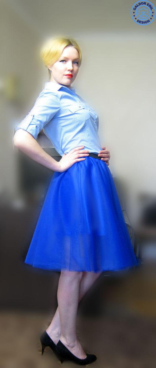 Юбки ручной работы. Ярмарка Мастеров - ручная работа. Купить Юбка синяя из фатина. Handmade. Тёмно-синий, юбка для девушки