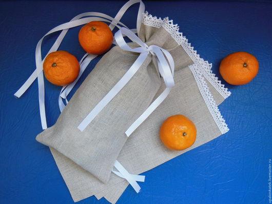 Подарочная упаковка ручной работы. Ярмарка Мастеров - ручная работа. Купить Подарочный мешочек из льна с кружевом. Handmade. Мешочек для подарка