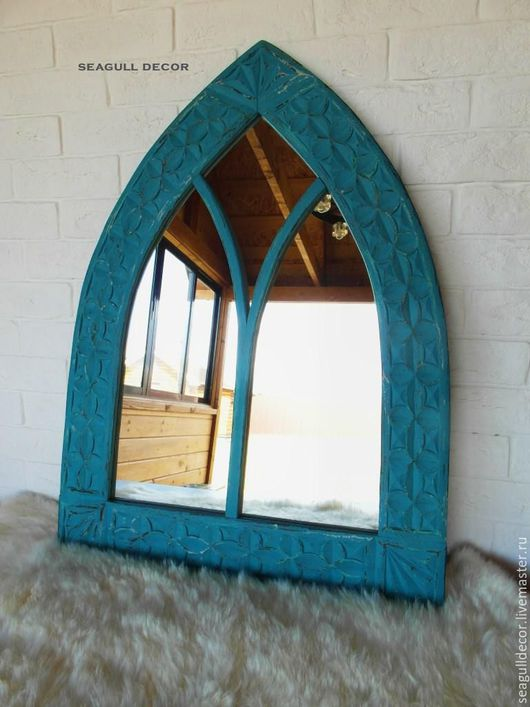 Зеркала ручной работы. Ярмарка Мастеров - ручная работа. Купить Зеркало в деревянной раме 60х80. Handmade. Бирюзовый, Дизайнерские зеркала