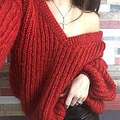 Одежда handmade. Livemaster - original item Women`s red Angora sweater. Handmade.