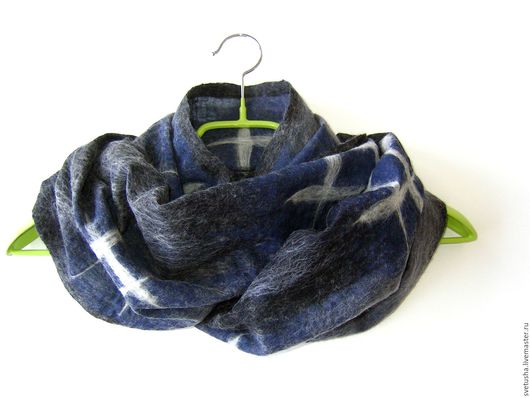 """Шарфы и шарфики ручной работы. Ярмарка Мастеров - ручная работа. Купить Снуд мужской валяный шарф унисекс """"Баловень)"""" мужской войлочный шарф. Handmade."""