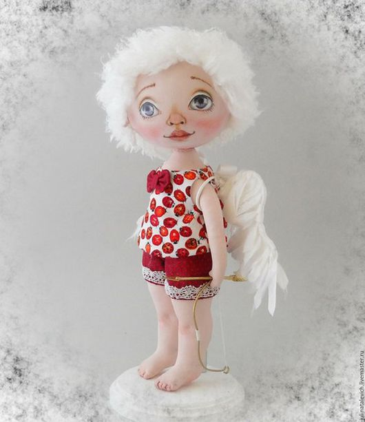 Куклы тыквоголовки ручной работы. Ярмарка Мастеров - ручная работа. Купить Интерьерная текстильная кукла Купидоша. Handmade. Ярко-красный