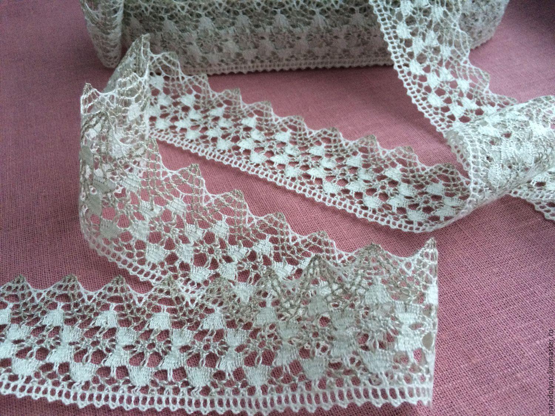 Lace linen two-tone 'Stars' 50mm, Lace, Ivanovo,  Фото №1