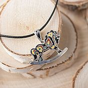 Украшения handmade. Livemaster - original item Horse pendant in sterling silver in the Russian style with enamel and a pattern Khokhloma. Handmade.