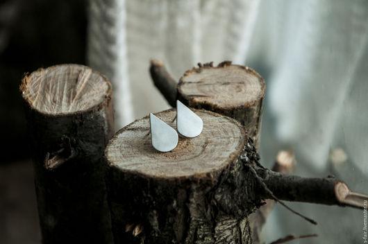 Серьги ручной работы. Ярмарка Мастеров - ручная работа. Купить Серебряные серьги - капли дождя. Handmade. Серебряный, серьги-гвоздики