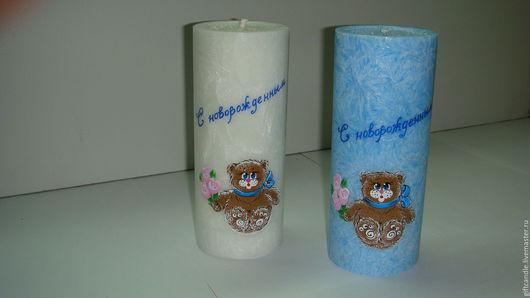 """Персональные подарки ручной работы. Ярмарка Мастеров - ручная работа. Купить Свеча """"С новорожденным"""". Handmade. Синий, розовый цвет"""