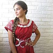 Одежда handmade. Livemaster - original item Cotton dress with belt. Handmade.