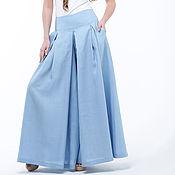 Одежда handmade. Livemaster - original item Blue skirt-trousers made of 100% linen. Handmade.
