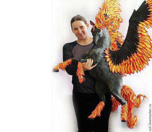 """Дизайн интерьеров ручной работы. Ярмарка Мастеров - ручная работа. Купить статуя """"Пегас стихии огня (огненная лошадь, поза: свечка)"""". Handmade."""