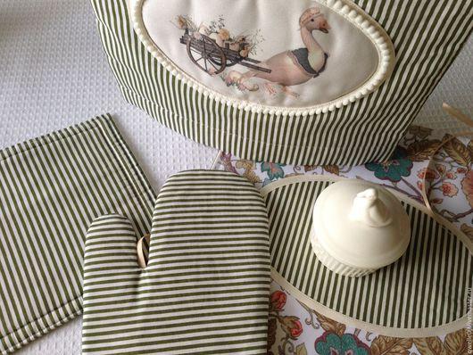 """Кухня ручной работы. Ярмарка Мастеров - ручная работа. Купить Набор для кухни """"Гуси"""" 4 предмета. Handmade. Хаки, кухня"""