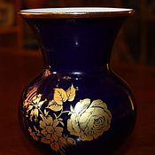 Винтаж handmade. Livemaster - original item R. Beautiful cobalt vase with a gold rose, Royal KPM, Germany. Handmade.