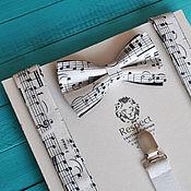 Аксессуары handmade. Livemaster - original item Tie with suspenders music Gift musician / black & white. Handmade.