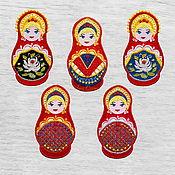 Материалы для творчества handmade. Livemaster - original item Applique Matryoshka Embroidered stripe 5.5x10,5cm Patch. Handmade.