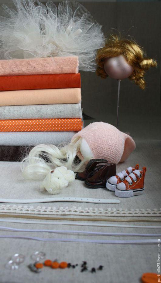 Подбор материалов для пошива куклы №36.1  `Апельсиновый мусс и бальзам`
