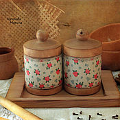 Для дома и интерьера handmade. Livemaster - original item A set of linden jars on a larch stand.. Handmade.