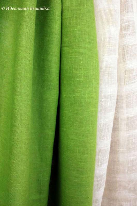 """Текстиль, ковры ручной работы. Ярмарка Мастеров - ручная работа. Купить Шторы льняные """"Зеленое яблоко"""". Handmade. Шторы"""