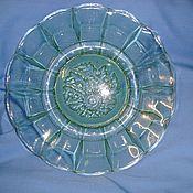 Винтаж handmade. Livemaster - original item A dish of green glass, USSR 60s  -. Handmade.