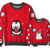 """Одежда ручной работы. Ярмарка Мастеров - ручная работа Новогодний Фемилилук """"Пингвины"""". Handmade."""