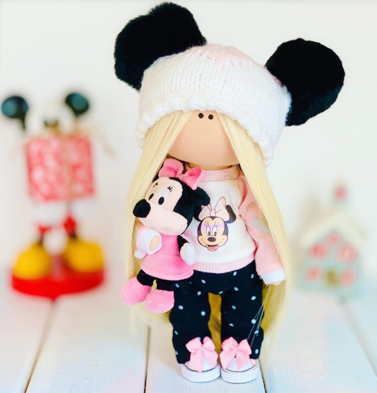 Текстильная интерьерная кукла с мышкой Минни Маус, Мягкие игрушки, Москва,  Фото №1