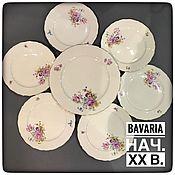 Винтаж handmade. Livemaster - original item Set of plates for 6 1, porcelain, Bavaria (2406). Handmade.