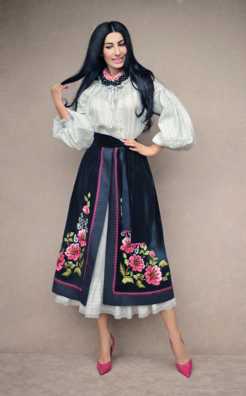 Ethno-costume with hand embroidery ' Round dance of flowers', Suits, Vinnitsa,  Фото №1