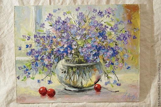 Картины цветов ручной работы. Ярмарка Мастеров - ручная работа. Купить Незабудки и вишня. Handmade. Картина, картина для интерьера, цветы