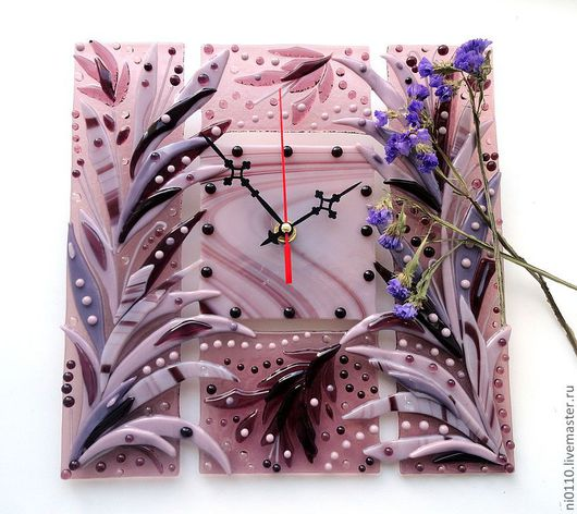 """Часы для дома ручной работы. Ярмарка Мастеров - ручная работа. Купить Часы """"Сиреневый туман"""". Handmade. Фьюзинг, часы интерьерные"""