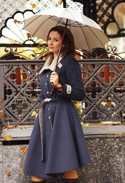 """Верхняя одежда ручной работы. Ярмарка Мастеров - ручная работа. Купить пальто """"гимназистка""""). Handmade. Тёмно-синий, пальто женское"""