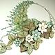 Колье, бусы ручной работы. Ярмарка Мастеров - ручная работа. Купить Андаманское Парфе. Колье из натуральных камней, цветы из кожи. Handmade.