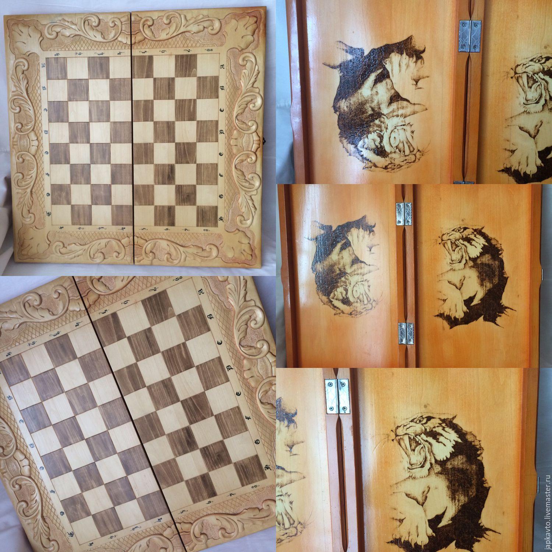 шахматы нарды шашки деревянные резные 4 в 1 купить в интернет