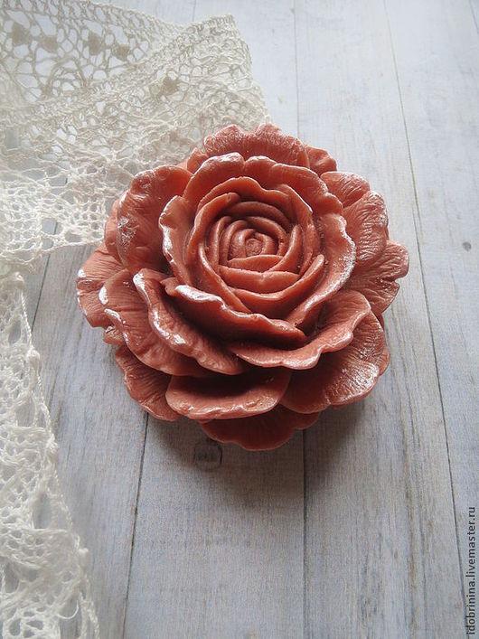 Мыло ручной работы. Ярмарка Мастеров - ручная работа. Купить Мыло. Большая роза.. Handmade. Бордовый, мыло роза