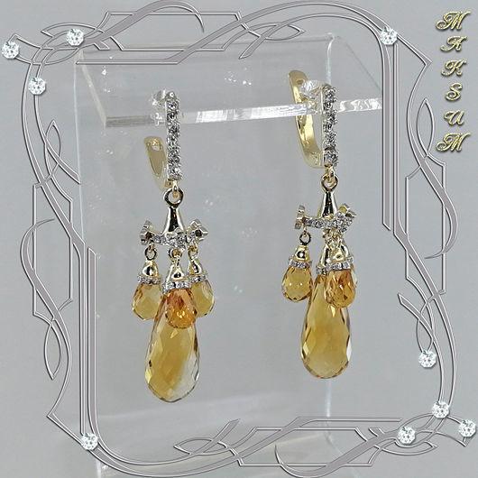 Earrings 'EMPIRE' 750 gold, diamonds, citrines. VIDEO, Earrings, St. Petersburg,  Фото №1