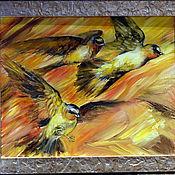 """Картины и панно ручной работы. Ярмарка Мастеров - ручная работа Картина маслом """" Птицы. Замерший полет"""". Handmade."""