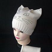 Работы для детей, ручной работы. Ярмарка Мастеров - ручная работа Мериносовая шапочка Кошечка....весна-осень.... Handmade.