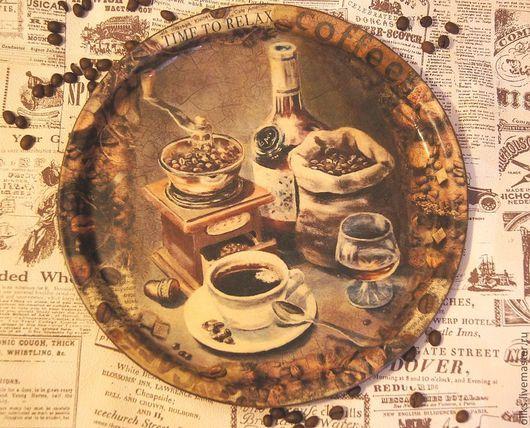 Кухня ручной работы. Ярмарка Мастеров - ручная работа. Купить Металлический поднос  кофеёк-чаёк. Handmade. Поднос для кухни, акрил