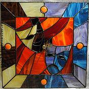 """Для дома и интерьера ручной работы. Ярмарка Мастеров - ручная работа Витражные часы """" Весь мир- театр """". Handmade."""