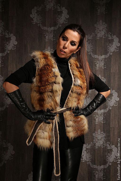 Жилеты ручной работы. Ярмарка Мастеров - ручная работа. Купить жилет шерсть с мехом лисы. Handmade. Серый, мех лисы