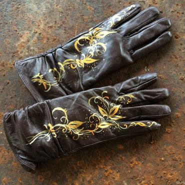 """Accessories handmade. Livemaster - original item Brown leather gloves.Unique design gloves.""""Autumn waltz""""Size 8,5. Handmade."""
