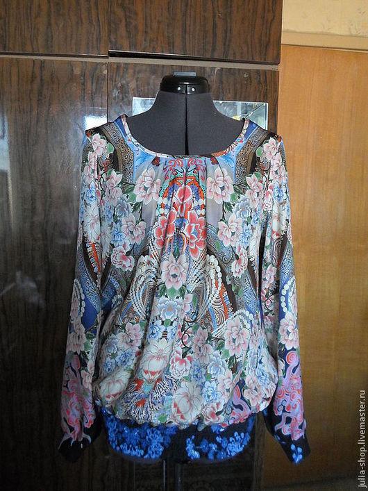 Блузки ручной работы. Ярмарка Мастеров - ручная работа. Купить Шелковая блузка. Handmade. Цветочный, натуральный шёлк
