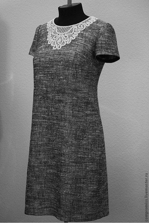 Платья ручной работы. Ярмарка Мастеров - ручная работа. Купить Платье с кружевным колье. Handmade. Чёрно-белый, платья из шелка